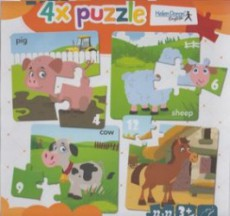 4x puzzle - Pig, sheep, cow, horse