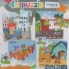 4x puzzle - Car, train, plane, wagon